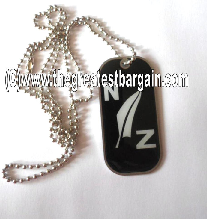 New Zealand Fern ID/Dog Tag double sided with chain Necklace