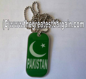 Pakistan ID/Dog Tag double sided with chain Necklace