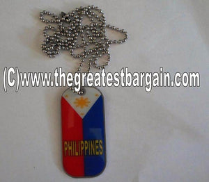 Philippines ID/Dog Tag double sided with chain Necklace