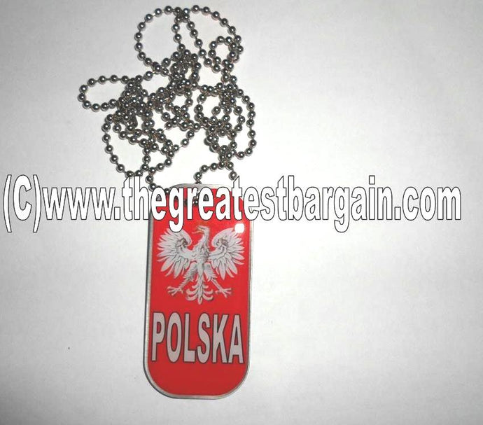 Poland/Polska ID/Dog Tag double sided with chain Necklace