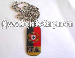 Portugal ID/Dog Tag double sided with chain Necklace