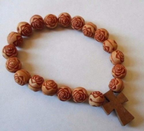 Holy Cross Good Luck/Religious bracelet.1 size fits all.Unisex.Ropes.Rose Beads
