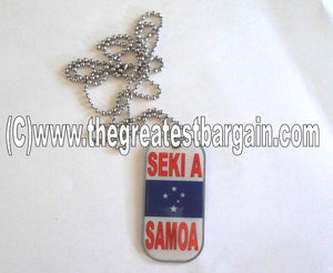 Samoa-Seki A Samoa ID/Dog Tag double sided with chain Necklace