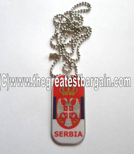 Serbia FLAG ID/Dog Tag double sided with chain Necklace