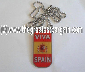Spain ID/Dog Tag double sided with chain Necklace