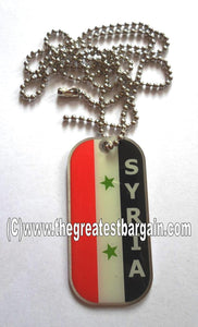 Syria ID/Dog Tag double sided with chain Necklace