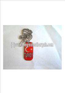 Turkey ID/Dog Tag double sided with chain Necklace