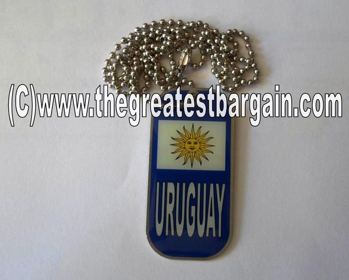 Uruguay ID/Dog Tag double sided with chain Necklace