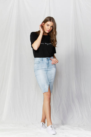Bowie Frayed Hem Denim Skirt Light Blue