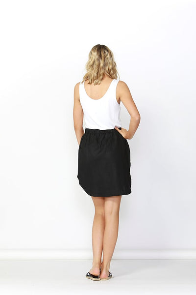 Betty Basics Duke Linen Skirt Black