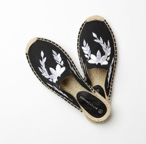 Betty Basics Fiesta Canvas Mules Black