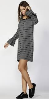 Betty Basics Ariana Dress Charcoal/ Black Stripe