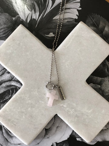 Cross & Crown Necklaces Rose Quartz WARRIOR