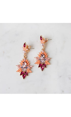 Jewel Drop Stud Earring Pink & Rose