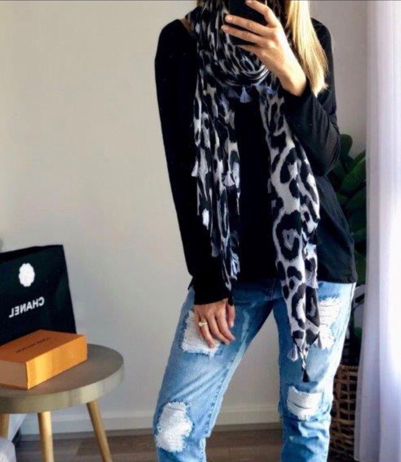 Grey Leopard Scarf with Tassels