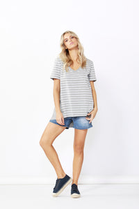 Betty Basics Hannah Tee Silver Marle/White Stripe