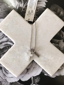 Cross & Crown Necklace White Marble Howlite GRATEFUL