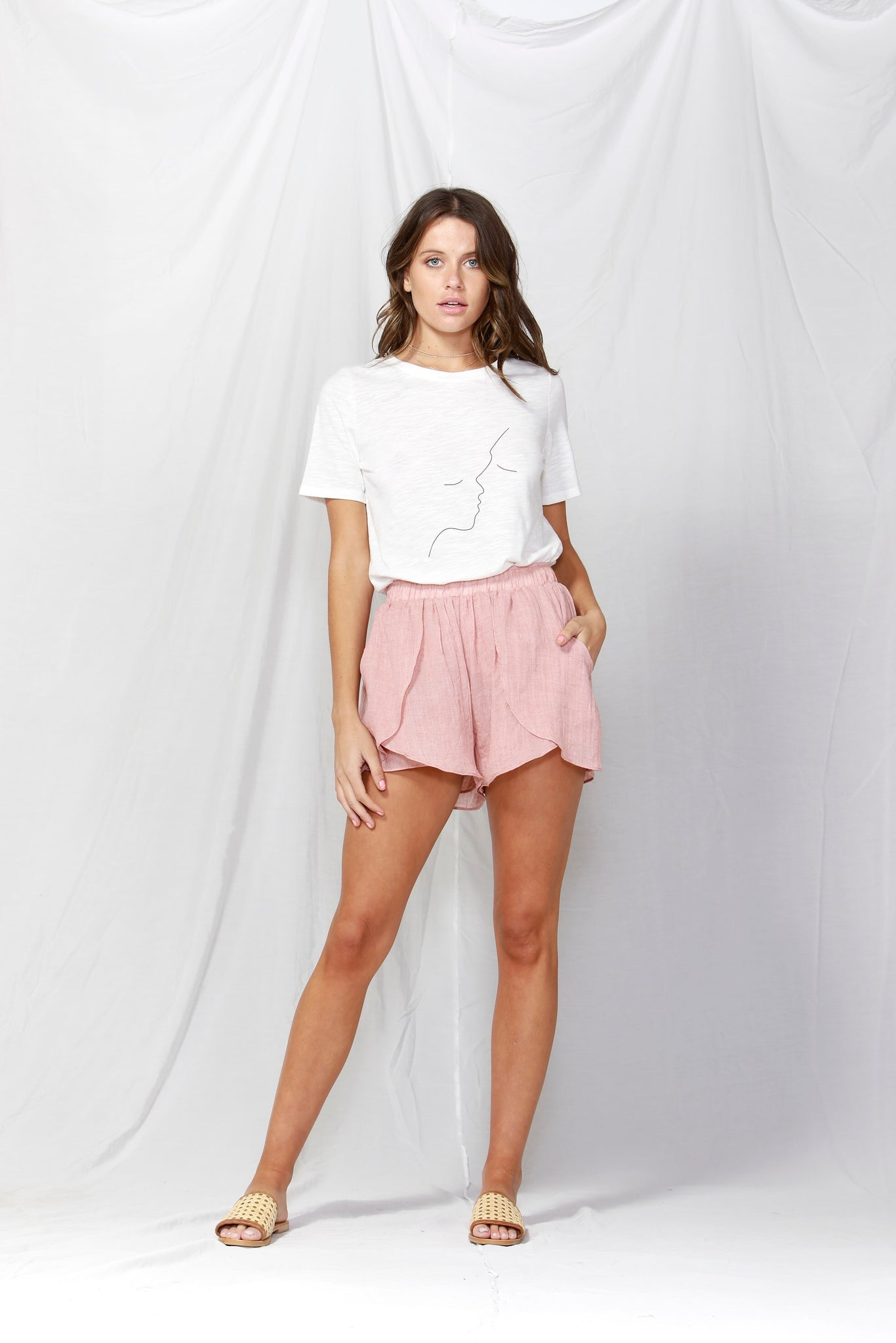 Fate + Becker Sunday Overlay Shorts - Washed Pink
