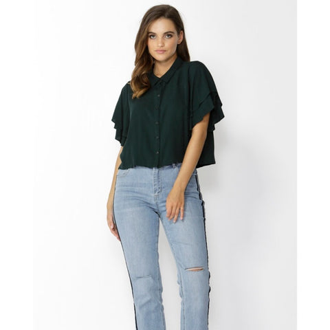 Sass Sensation Ruffle Sleeve Top Emerald