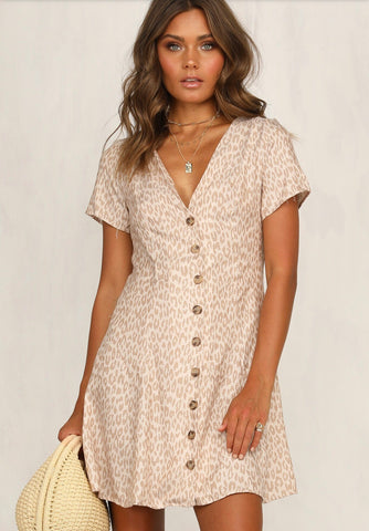 Ava Button Through Dress Beige Leopard