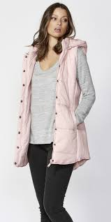 Betty Basics Jayce Long Puffer Vest - Petal