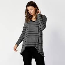 Betty Basics Melanie Swing Top Charcoal & Black Stripe