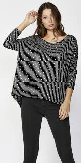 Betty Basics Printed Milan 3/4 Sleeve Top Black Silver Stripe