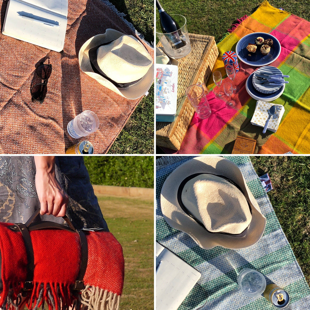 Selection of pure new wool and recycled wool picnic blankets