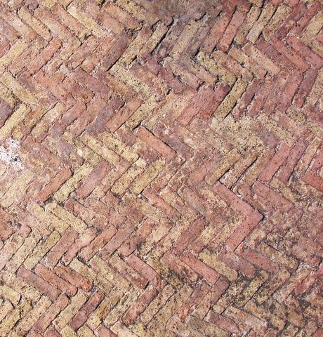 Herringbone in Roman brick road