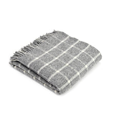 Grey check wool throw