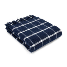 Blue Check Wool Throw