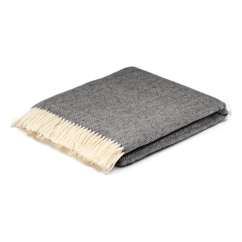 Charcoal grey herringbone blanket
