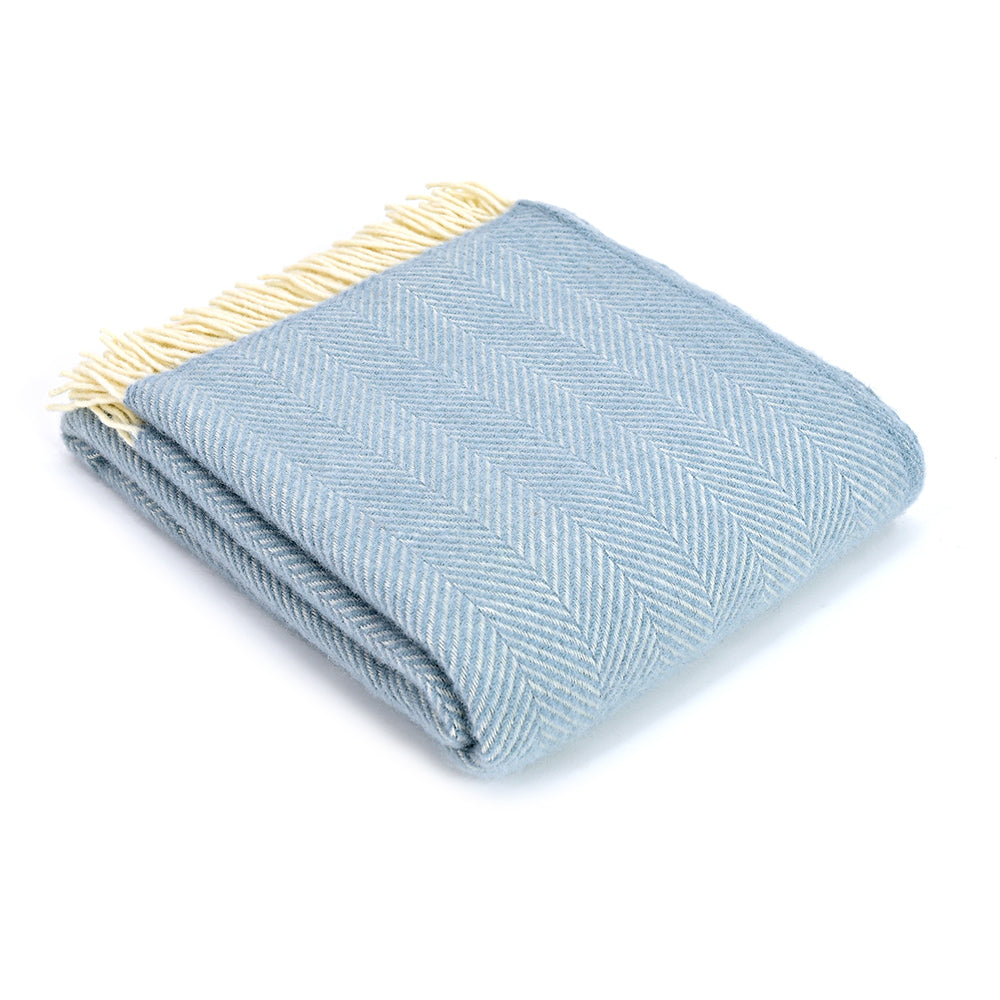 Duck Egg blue herringbone wool throw