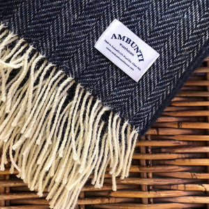 Navy Herringbone Throw