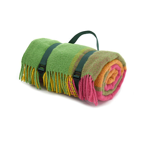 Citrus waterproof wool picnic blanket with webbing carry straps.