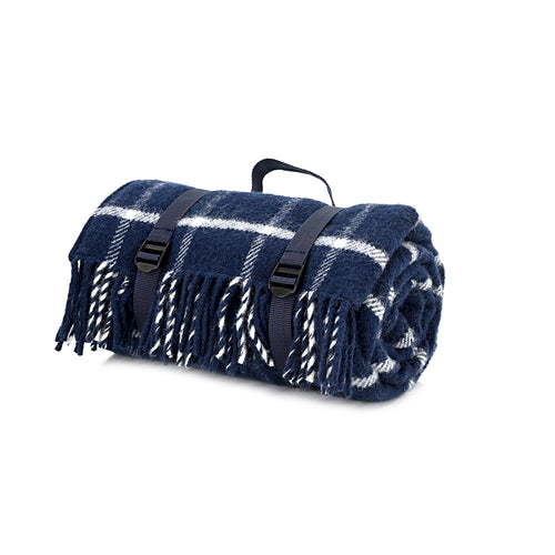 Navy blue and white waterproof wool picnic blanket
