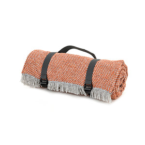 Rustic orange recycled wool picnic rug
