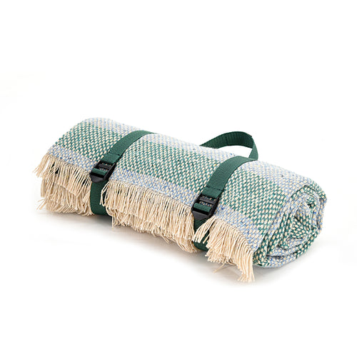 Jade Green Recycled Wool Picnic Blanket