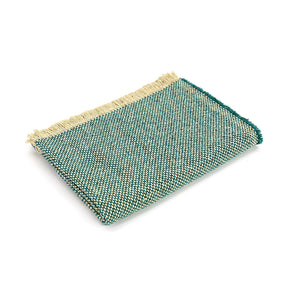 Crosshatch recycled jade green wool throw.