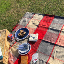 Red and grey waterproof wool picnic blanket with picnic