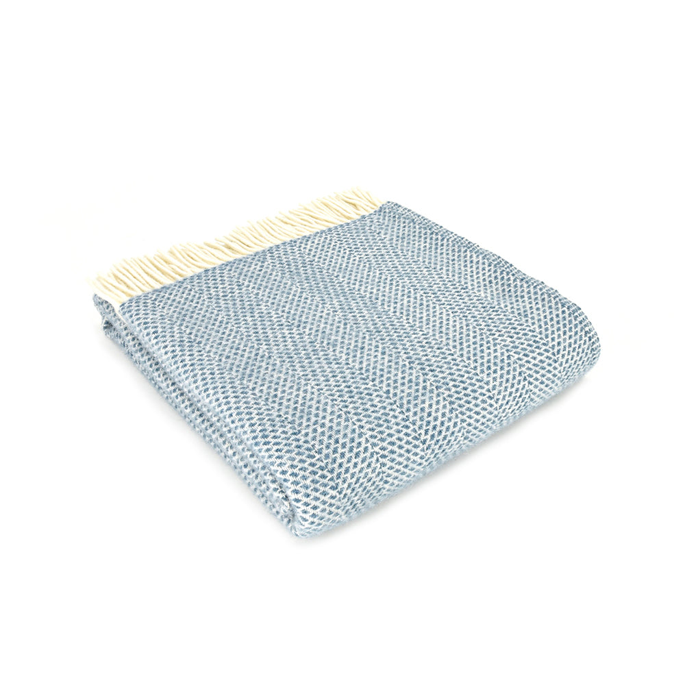 petrol blue beehive wool throw