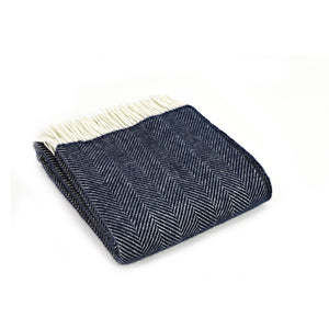 Navy Blue Herringbone Throw