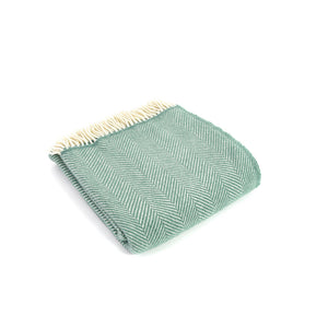Sea green wool fishbone throw
