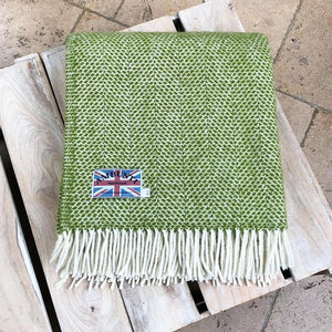 kiwi green beehive wool throw on table