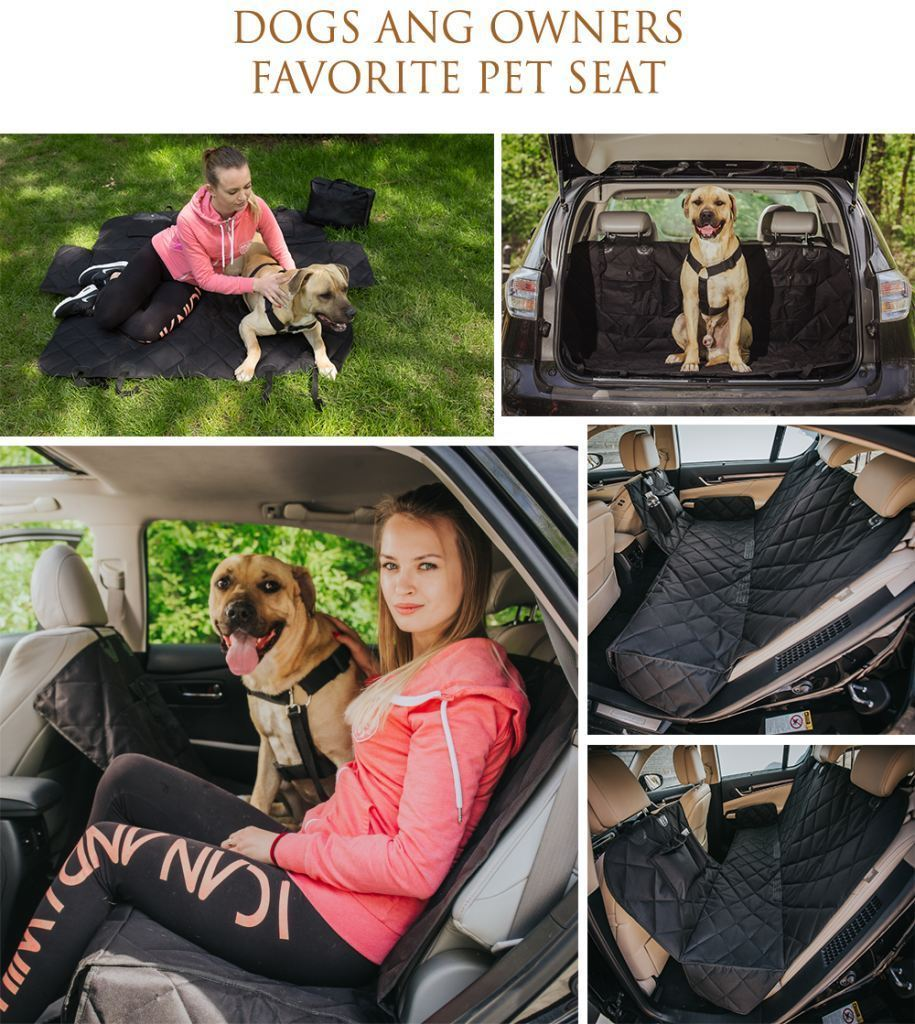 EVOest Dog Seat Cover Dog Car Seat Cover for Cars/Trucks/SUV's with Extra Side Flaps & Pet Seat Belt & Carry Bag Bonus