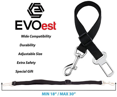 EVOest Seat Belt Pet Car Seat Belt, Adjustable Length - Universal Fit