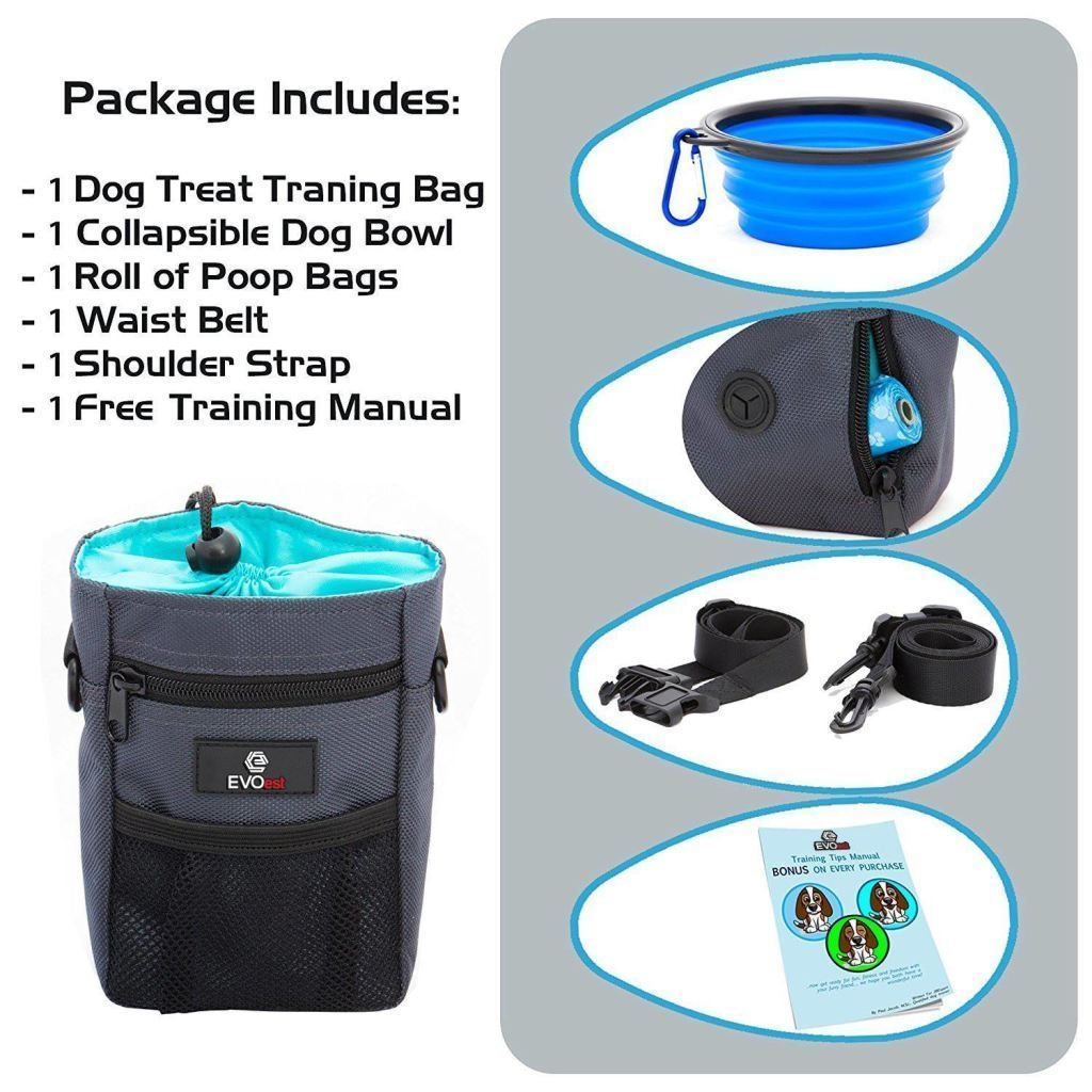EVOest Treat Pouch Dog Treat Training Pouch with Collapsible Bowl & 1 Roll of Bags Bonus