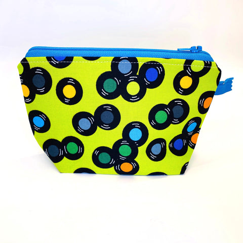 Accessory Bag - The Wedge - SPINNING VINYL with Bright Blue Zipper