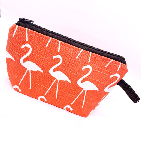 Accessory Bag - The Wedge - FLAMINGO with Brown Zipper