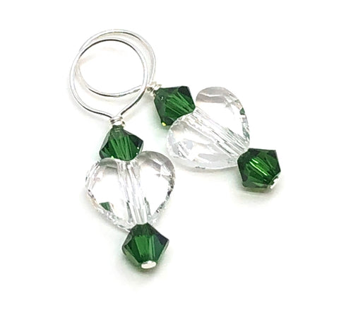 Two Hearts Swarovski Crystal Stitch Markers - Crystal and Moss Green